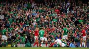 7 September 2019; Ireland supporters cheer as Tadhg Furlong of Ireland scores a try during the Guinness Summer Series match between Ireland and Wales at Aviva Stadium in Dublin. Photo by Brendan Moran/Sportsfile