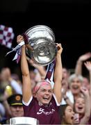 8 September 2019; Galway captain Sarah Dervan lifts the O'Duffy Cup following the Liberty Insurance All-Ireland Senior Camogie Championship Final match between Galway and Kilkenny at Croke Park in Dublin. Photo by Piaras Ó Mídheach/Sportsfile