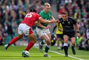 7 September 2019; Keith Earls of Ireland is tackled by Leigh Halfpenny of Wales during the Guinness Summer Series match between Ireland and Wales at Aviva Stadium in Dublin. Photo by Brendan Moran/Sportsfile