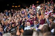 8 September 2019; Galway captain Sarah Dervan lifts the O'Duffy Cup following the Liberty Insurance All-Ireland Senior Camogie Championship Final match between Galway and Kilkenny at Croke Park in Dublin. Photo by Ramsey Cardy/Sportsfile