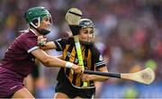 8 September 2019; Katie Power of Kilkenny in action against Emma Helebert of Galway during the Liberty Insurance All-Ireland Senior Camogie Championship Final match between Galway and Kilkenny at Croke Park in Dublin. Photo by Piaras Ó Mídheach/Sportsfile