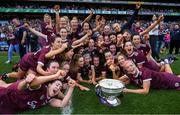 8 September 2019; The Galway team celebrate with the O'Duffy Cup following the Liberty Insurance All-Ireland Senior Camogie Championship Final match between Galway and Kilkenny at Croke Park in Dublin. Photo by Ramsey Cardy/Sportsfile