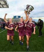 8 September 2019; Sarah Dervan, left, Shauna Healy, centre, and Niamh Kilkenny of Galway celebrate with the O'Duffy Cup following the Liberty Insurance All-Ireland Senior Camogie Championship Final match between Galway and Kilkenny at Croke Park in Dublin. Photo by Ramsey Cardy/Sportsfile