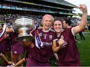 8 September 2019; Sarah Dervan, left, and Ailish O'Reilly of Galway celebrate with the O'Duffy Cup following the Liberty Insurance All-Ireland Senior Camogie Championship Final match between Galway and Kilkenny at Croke Park in Dublin. Photo by Ramsey Cardy/Sportsfile