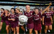 8 September 2019; Sarah Dervan and Aoife Donohue of Galway with the O'Duffy Cup following the Liberty Insurance All-Ireland Senior Camogie Championship Final match between Galway and Kilkenny at Croke Park in Dublin. Photo by Ramsey Cardy/Sportsfile