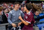 8 September 2019; Heather Cooney of Galway and Galway footballer Shane Walsh following the Liberty Insurance All-Ireland Senior Camogie Championship Final match between Galway and Kilkenny at Croke Park in Dublin. Photo by Ramsey Cardy/Sportsfile