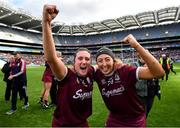 8 September 2019; Ailish O'Reilly, left, and Lisa Casserly of Galway celebrate following the Liberty Insurance All-Ireland Senior Camogie Championship Final match between Galway and Kilkenny at Croke Park in Dublin. Photo by Ramsey Cardy/Sportsfile