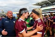 8 September 2019; Anne Marie Starr, left, and Emma Helebert of Galway celebrate following the Liberty Insurance All-Ireland Senior Camogie Championship Final match between Galway and Kilkenny at Croke Park in Dublin. Photo by Ramsey Cardy/Sportsfile