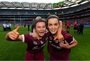8 September 2019; Aoife Donohue, left, and Noreen Coen of Galway celebrate following the Liberty Insurance All-Ireland Senior Camogie Championship Final match between Galway and Kilkenny at Croke Park in Dublin. Photo by Ramsey Cardy/Sportsfile