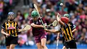 8 September 2019; Catherine Finnerty of Galway in action against Edwina Keane of Kilkenny during the Liberty Insurance All-Ireland Senior Camogie Championship Final match between Galway and Kilkenny at Croke Park in Dublin. Photo by Piaras Ó Mídheach/Sportsfile