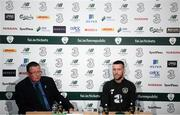 9 September 2019; Jack Byrne and FAI Director of Communications Cathal Dervan during a Republic of Ireland press conference at the FAI National Training Centre in Abbotstown, Dublin. Photo by Stephen McCarthy/Sportsfile