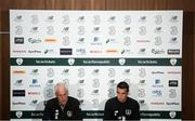 9 September 2019; Republic of Ireland manager Mick McCarthy and Seamus Coleman during a press conference at the FAI National Training Centre in Abbotstown, Dublin. Photo by Stephen McCarthy/Sportsfile