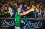 3 September 2019; Katie McCabe of Republic of Ireland with supporters following the UEFA Women's 2021 European Championships Qualifier Group I match between Republic of Ireland and Montenegro at Tallaght Stadium in Dublin. Photo by Stephen McCarthy/Sportsfile