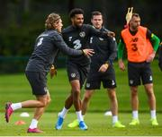 9 September 2019; Jeff Hendrick, left, and Cyrus Christie during a Republic of Ireland training session at the FAI National Training Centre in Abbotstown, Dublin. Photo by Stephen McCarthy/Sportsfile