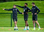 9 September 2019; Republic of Ireland players, from left, Josh Cullen, Cyrus Christie and Kevin Long during a training session at the FAI National Training Centre in Abbotstown, Dublin. Photo by Stephen McCarthy/Sportsfile