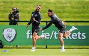 9 September 2019; Conor Hourihane and Enda Stevens, right, during a Republic of Ireland training session at the FAI National Training Centre in Abbotstown, Dublin. Photo by Stephen McCarthy/Sportsfile