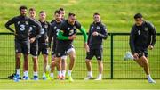 9 September 2019; Richard Keogh and John Egan, right, during a Republic of Ireland training session at the FAI National Training Centre in Abbotstown, Dublin. Photo by Stephen McCarthy/Sportsfile