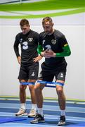 9 September 2019; Richard Keogh, right, and James Collins during a Republic of Ireland gym session at the FAI National Training Centre in Abbotstown, Dublin. Photo by Stephen McCarthy/Sportsfile