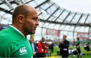 7 September 2019; Ireland captain Rory Best leads leads his side out prior to during the Guinness Summer Series match between Ireland and Wales at Aviva Stadium in Dublin. Photo by Brendan Moran/Sportsfile
