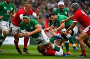 7 September 2019; CJ Stander of Ireland is tackled by Rhys Patchell of Wales during the Guinness Summer Series match between Ireland and Wales at Aviva Stadium in Dublin. Photo by Brendan Moran/Sportsfile
