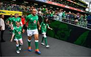 7 September 2019; Ireland captain Rory Best leads the teams out prior to during the Guinness Summer Series match between Ireland and Wales at Aviva Stadium in Dublin. Photo by Brendan Moran/Sportsfile