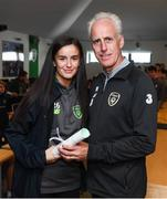 9 September 2019; Republic of Ireland manager Mick McCarthy presents Alex Kavanagh, FAI/ETB Irishtown, with her certificate during the 2019 FAI-ETB Graduation event at the FAI Headquarters in Abbotstown, Dublin. Photo by Stephen McCarthy/Sportsfile