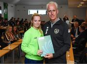 9 September 2019; Republic of Ireland manager Mick McCarthy presents Louise Masterson of the DDLETB Training Centre, Loughlinstown, with her certificate during the 2019 FAI-ETB Graduation event at the FAI Headquarters in Abbotstown, Dublin. Photo by Stephen McCarthy/Sportsfile