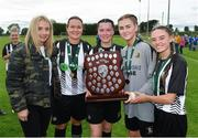 8 September 2019; Whitehall Rangers players, from left, Jen Kett, Tara Bergin, Tiffany Roberts and Leah Farrell following the FAI Women's Intermediate Shield Final match between Manulla FC and Whitehall Rangers at Mullingar Athletic FC in Mullingar, Co. Westmeath. Photo by Seb Daly/Sportsfile