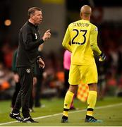 5 September 2019; Republic of Ireland goalkeeping coach Alan Kelly in conversation with Darren Randolph during the UEFA EURO2020 Qualifier Group D match between Republic of Ireland and Switzerland at Aviva Stadium, Lansdowne Road in Dublin. Photo by Ben McShane/Sportsfile