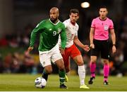 5 September 2019; David McGoldrick of Republic of Ireland and Remo Freuler of Switzerland during the UEFA EURO2020 Qualifier Group D match between Republic of Ireland and Switzerland at Aviva Stadium, Lansdowne Road in Dublin. Photo by Ben McShane/Sportsfile