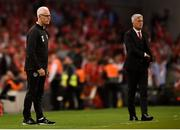 5 September 2019; Republic of Ireland manager Mick McCarthy, left, and Switzerland manager Vladimir Petkovic during the UEFA EURO2020 Qualifier Group D match between Republic of Ireland and Switzerland at Aviva Stadium, Lansdowne Road in Dublin. Photo by Ben McShane/Sportsfile