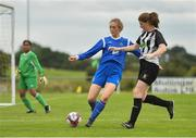 8 September 2019; Sinead Flannery of Manulla FC in action against Helen Cooney of Whitehall Rangers during the FAI Women's Intermediate Shield Final match between Manulla FC and Whitehall Rangers at Mullingar Athletic FC in Mullingar, Co. Westmeath. Photo by Seb Daly/Sportsfile