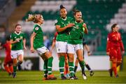 3 September 2019; Katie McCabe, right, celebrates after scoring her side's second goal with Republic of Ireland team-mates Rianna Jarrett and Denise O'Sullivan, left, during the UEFA Women's 2021 European Championships Qualifier Group I match between Republic of Ireland and Montenegro at Tallaght Stadium in Dublin. Photo by Stephen McCarthy/Sportsfile