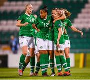 3 September 2019; Katie McCabe celebrates after scoring her side's second goal with Republic of Ireland team-mates, from left, Louise Quinn, Rianna Jarrett and Denise O'Sullivan during the UEFA Women's 2021 European Championships Qualifier Group I match between Republic of Ireland and Montenegro at Tallaght Stadium in Dublin. Photo by Stephen McCarthy/Sportsfile