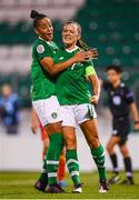 3 September 2019; Katie McCabe, right, celebrates after scoring her side's second goal with Republic of Ireland team-mate Rianna Jarrett during the UEFA Women's 2021 European Championships Qualifier Group I match between Republic of Ireland and Montenegro at Tallaght Stadium in Dublin. Photo by Stephen McCarthy/Sportsfile