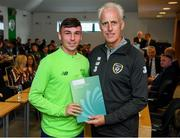 9 September 2019; Republic of Ireland manager Mick McCarthy presents Jonathan O'Donoghue of the DDLETB Training Centre, Loughlinstown, with their certificate during the 2019 FAI-ETB Graduation event at the FAI Headquarters in Abbotstown, Dublin. Photo by Stephen McCarthy/Sportsfile