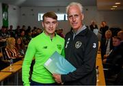 9 September 2019; Republic of Ireland manager Mick McCarthy presents Jack Maguire of the DDLETB Training Centre, Loughlinstown, with their certificate during the 2019 FAI-ETB Graduation event at the FAI Headquarters in Abbotstown, Dublin. Photo by Stephen McCarthy/Sportsfile