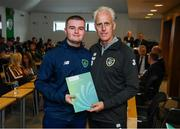 9 September 2019; Republic of Ireland manager Mick McCarthy presents Sean O'Brien of the DDLETB Training Centre, Loughlinstown, with their certificate during the 2019 FAI-ETB Graduation event at the FAI Headquarters in Abbotstown, Dublin. Photo by Stephen McCarthy/Sportsfile