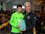 9 September 2019; Republic of Ireland manager Mick McCarthy presents Jack Nolan of the DDLETB Training Centre, Loughlinstown, with their certificate during the 2019 FAI-ETB Graduation event at the FAI Headquarters in Abbotstown, Dublin. Photo by Stephen McCarthy/Sportsfile