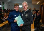 9 September 2019; Republic of Ireland manager Mick McCarthy presents Charlie Smith of the DDLETB Training Centre, Loughlinstown, with their certificate during the 2019 FAI-ETB Graduation event at the FAI Headquarters in Abbotstown, Dublin. Photo by Stephen McCarthy/Sportsfile