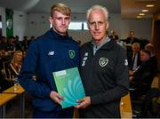 9 September 2019; Republic of Ireland manager Mick McCarthy presents Evan Smithers of the DDLETB Training Centre, Loughlinstown, with their certificate during the 2019 FAI-ETB Graduation event at the FAI Headquarters in Abbotstown, Dublin. Photo by Stephen McCarthy/Sportsfile