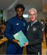 9 September 2019; Republic of Ireland manager Mick McCarthy presents Emmanuel Odeniyi of the DDLETB Training Centre, Loughlinstown, with their certificate during the 2019 FAI-ETB Graduation event at the FAI Headquarters in Abbotstown, Dublin. Photo by Stephen McCarthy/Sportsfile