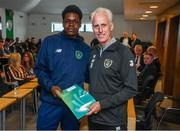 9 September 2019; Republic of Ireland manager Mick McCarthy presents Winston Lambe of the DDLETB Training Centre, Loughlinstown, with their certificate during the 2019 FAI-ETB Graduation event at the FAI Headquarters in Abbotstown, Dublin. Photo by Stephen McCarthy/Sportsfile