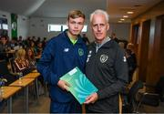9 September 2019; Republic of Ireland manager Mick McCarthy presents Darragh Gregg of the DDLETB Training Centre, Loughlinstown, with their certificate during the 2019 FAI-ETB Graduation event at the FAI Headquarters in Abbotstown, Dublin. Photo by Stephen McCarthy/Sportsfile