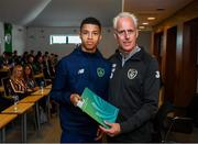 9 September 2019; Republic of Ireland manager Mick McCarthy presents Jordan Carroll of the DDLETB Training Centre, Loughlinstown, with their certificate during the 2019 FAI-ETB Graduation event at the FAI Headquarters in Abbotstown, Dublin. Photo by Stephen McCarthy/Sportsfile