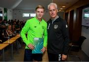 9 September 2019; Republic of Ireland manager Mick McCarthy presents Mitchell Byrne of the DDLETB Training Centre, Loughlinstown, with their certificate during the 2019 FAI-ETB Graduation event at the FAI Headquarters in Abbotstown, Dublin. Photo by Stephen McCarthy/Sportsfile