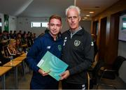 9 September 2019; Republic of Ireland manager Mick McCarthy presents Evan Clifford of the DDLETB Training Centre, Loughlinstown, with their certificate during the 2019 FAI-ETB Graduation event at the FAI Headquarters in Abbotstown, Dublin. Photo by Stephen McCarthy/Sportsfile