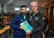 9 September 2019; Republic of Ireland manager Mick McCarthy presents Glen Farrell of the DDLETB Training Centre, Loughlinstown, with their certificate during the 2019 FAI-ETB Graduation event at the FAI Headquarters in Abbotstown, Dublin. Photo by Stephen McCarthy/Sportsfile