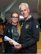 9 September 2019; Republic of Ireland manager Mick McCarthy presents Katie Burdis, FAI/ETB Irishtown, with her certificate during the 2019 FAI-ETB Graduation event at the FAI Headquarters in Abbotstown, Dublin. Photo by Stephen McCarthy/Sportsfile