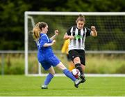 8 September 2019; Megan Costello of Manulla FC in action against Niamh O'Doherty of Whitehall Rangers during the FAI Women's Intermediate Shield Final match between Manulla FC and Whitehall Rangers at Mullingar Athletic FC in Mullingar, Co. Westmeath. Photo by Seb Daly/Sportsfile